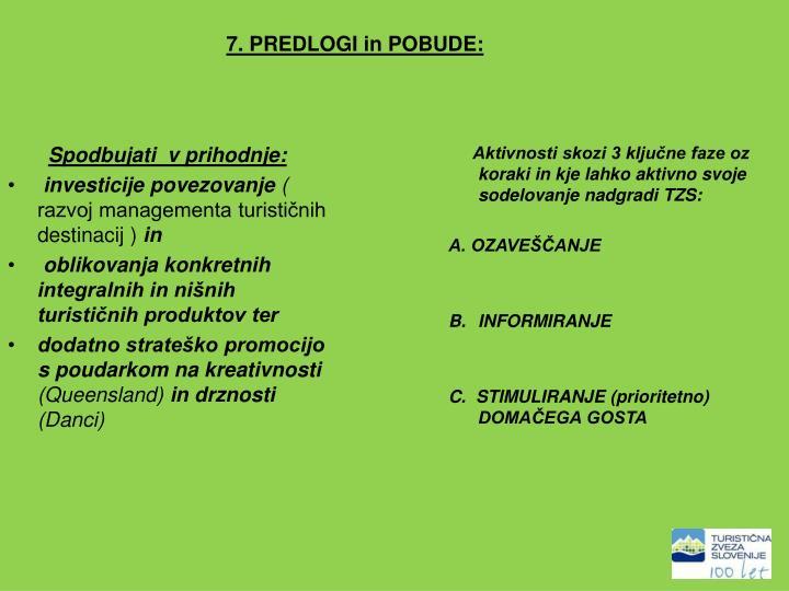 7. PREDLOGI in POBUDE: