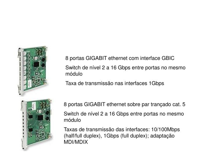 8 portas GIGABIT ethernet com interface GBIC