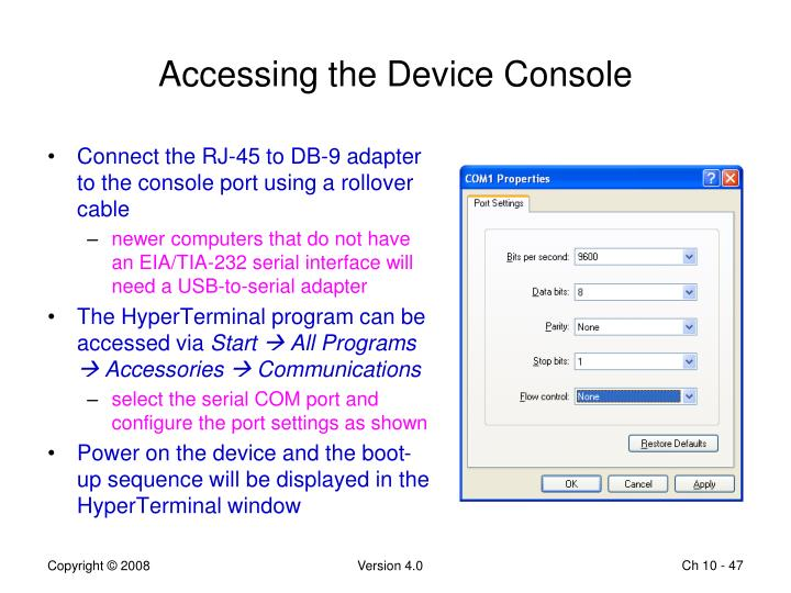 Accessing the Device Console