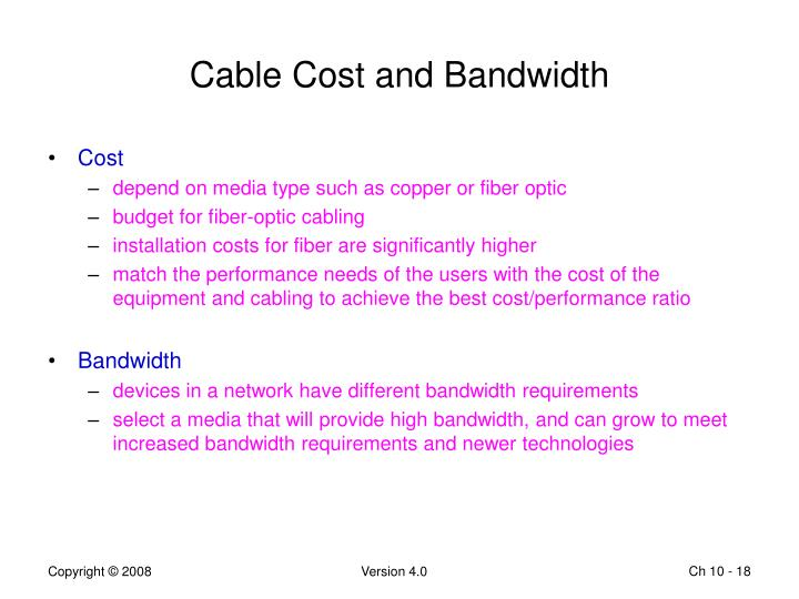 Cable Cost and Bandwidth