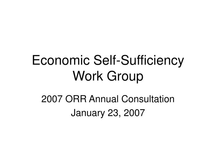 economic self sufficiency work group
