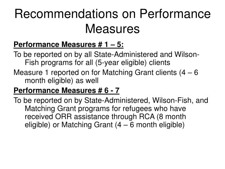Recommendations on Performance Measures