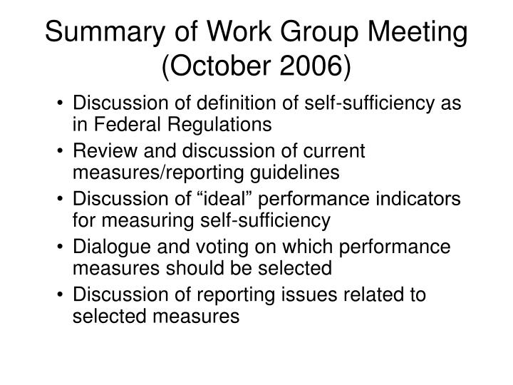 Summary of Work Group Meeting (October 2006)