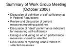 summary of work group meeting october 2006