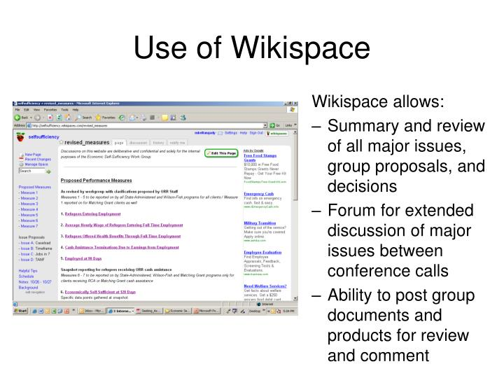 Wikispace allows: