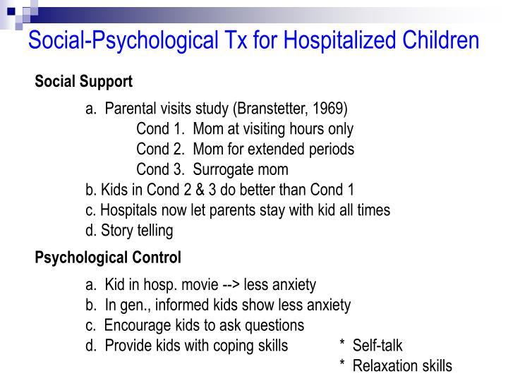 Social-Psychological Tx for Hospitalized Children
