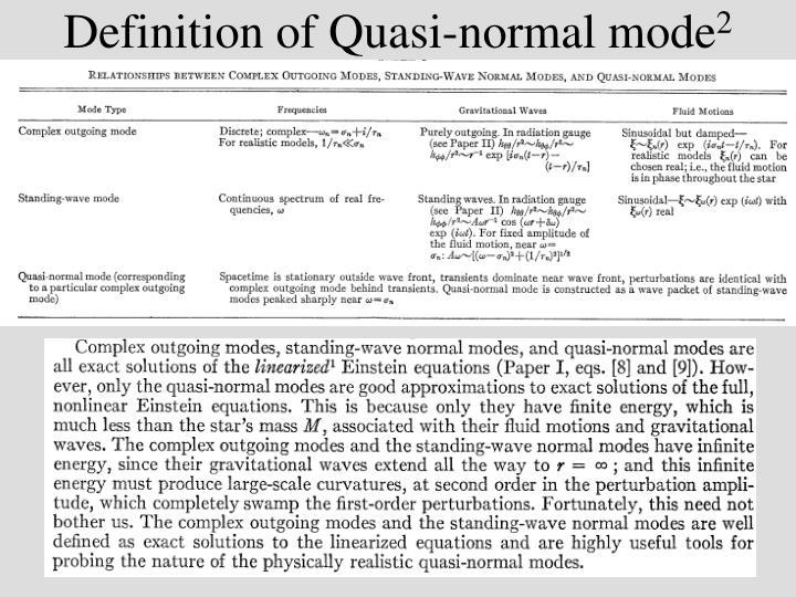 Definition of Quasi-normal mode