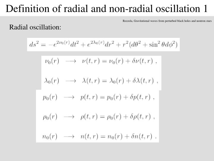 Definition of radial and non-radial oscillation 1