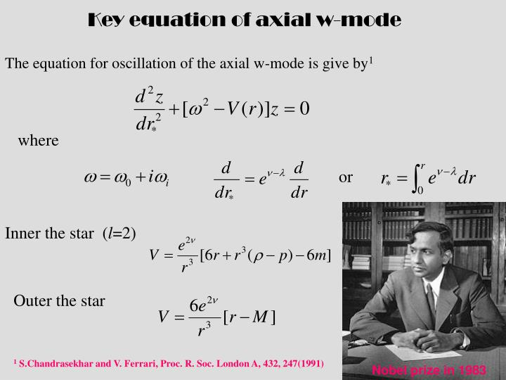 Key equation of axial w-mode