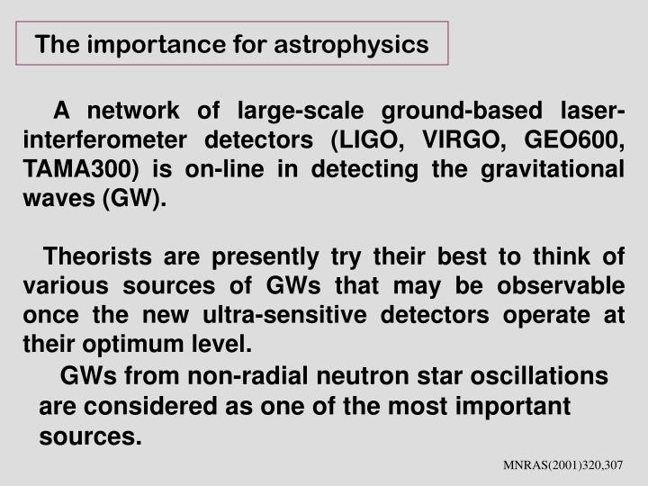 The importance for astrophysics