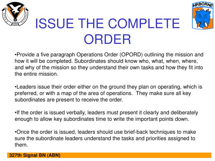 ISSUE THE COMPLETE ORDER