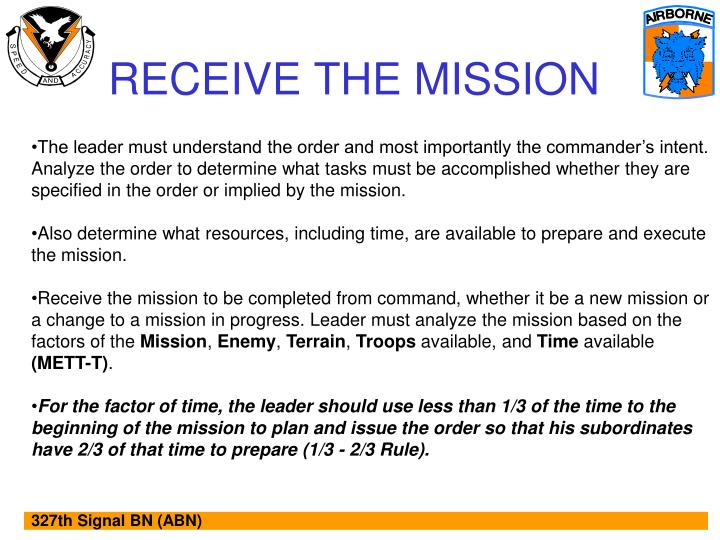 RECEIVE THE MISSION