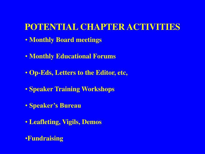 POTENTIAL CHAPTER ACTIVITIES