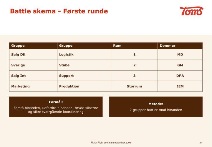 Battle skema - Første runde