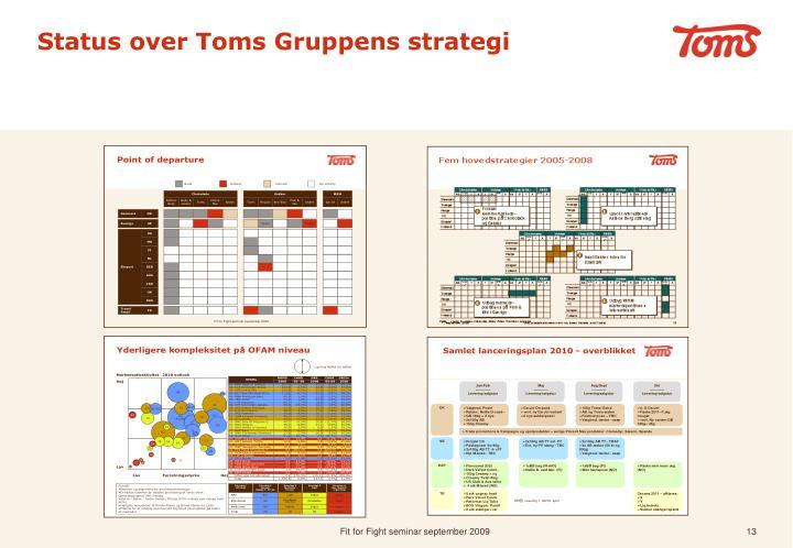 Status over Toms Gruppens strategi
