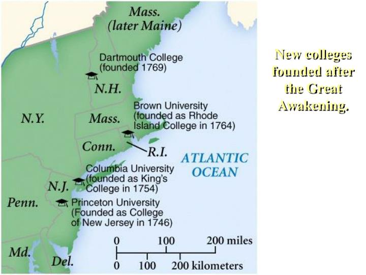 New colleges founded after the Great Awakening.