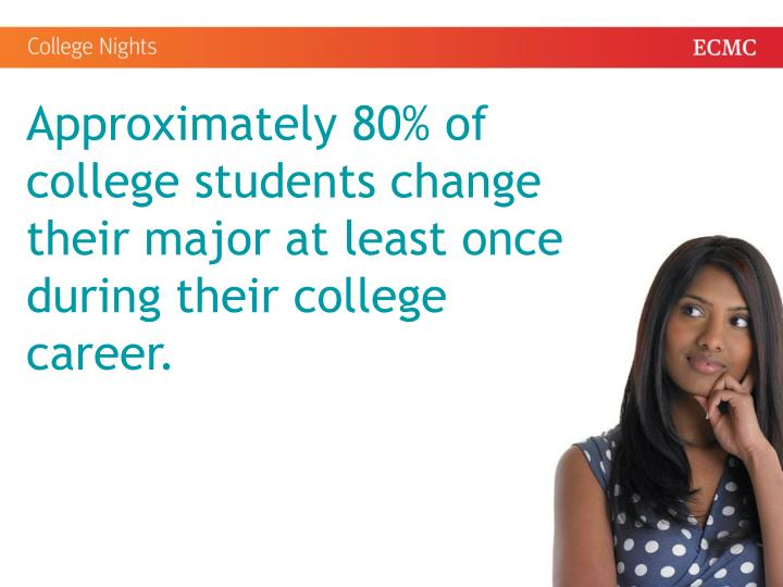 Approximately 80% of college students change their major at least once during their college career.