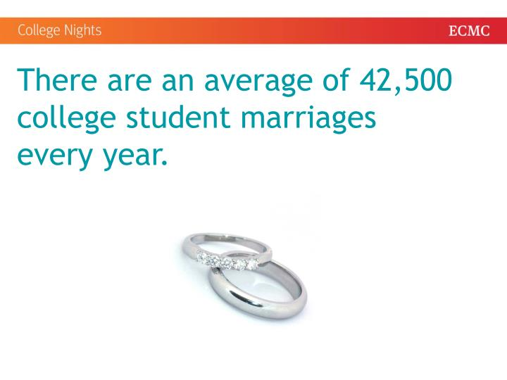 There are an average of 42,500 college student marriages every year.