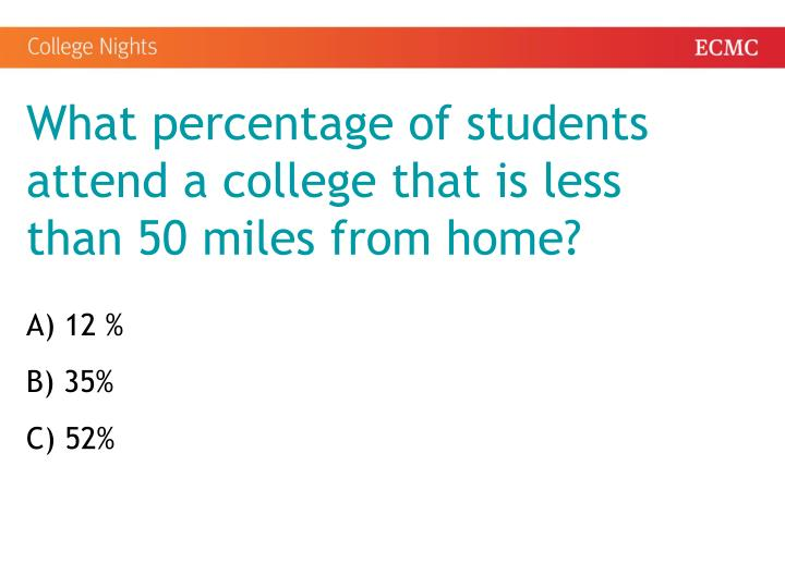 What percentage of students attend a college that is less than 50 miles from home?