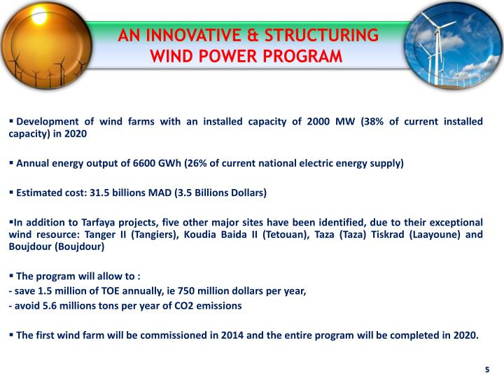 AN INNOVATIVE & STRUCTURING WIND POWER PROGRAM