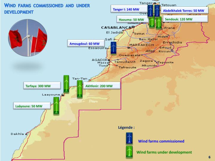 Wind farms commissioned and under development