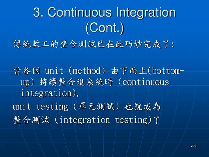 3. Continuous Integration (Cont.)