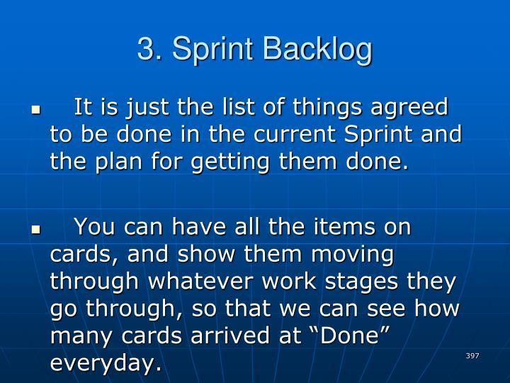 3. Sprint Backlog