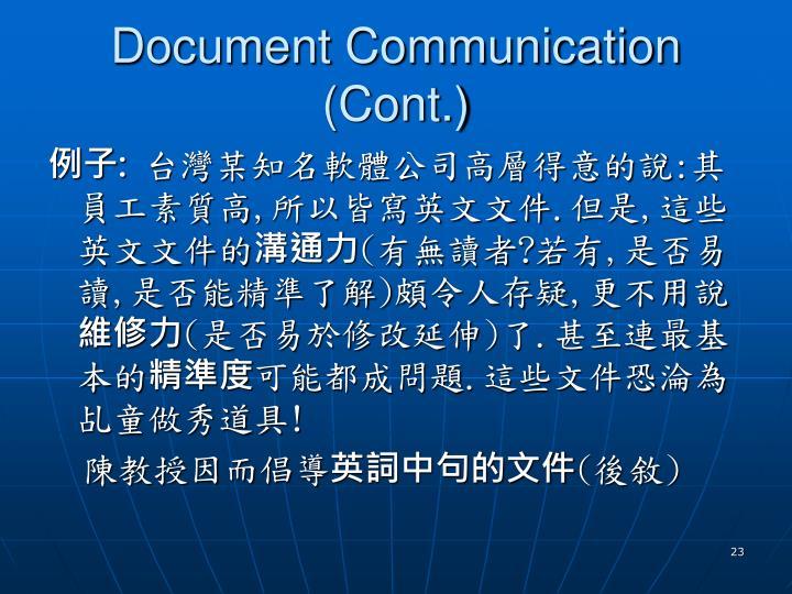Document Communication (Cont.)