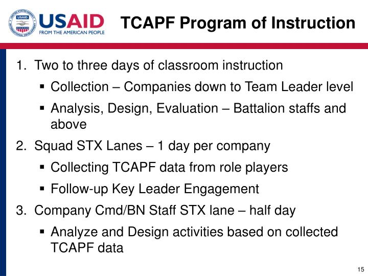 TCAPF Program of Instruction