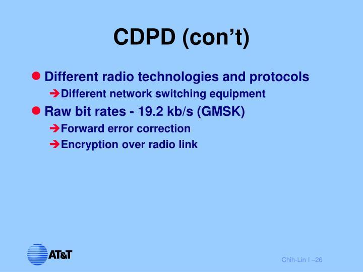 CDPD (con't)