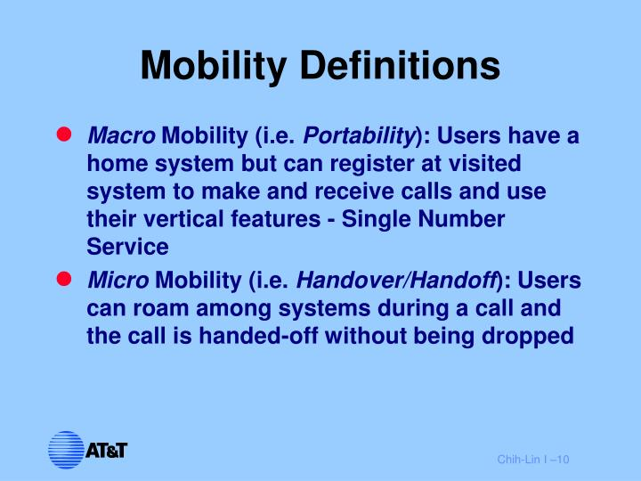 Mobility Definitions