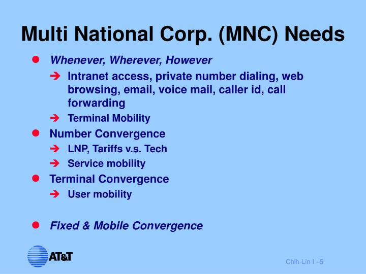 Multi National Corp. (MNC) Needs
