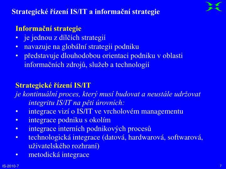 Strategické řízení IS/IT a informační strategie