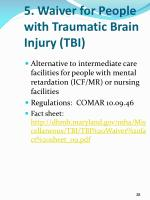 5 waiver for people with traumatic brain injury tbi