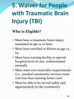 5 waiver for people with traumatic brain injury tbi1