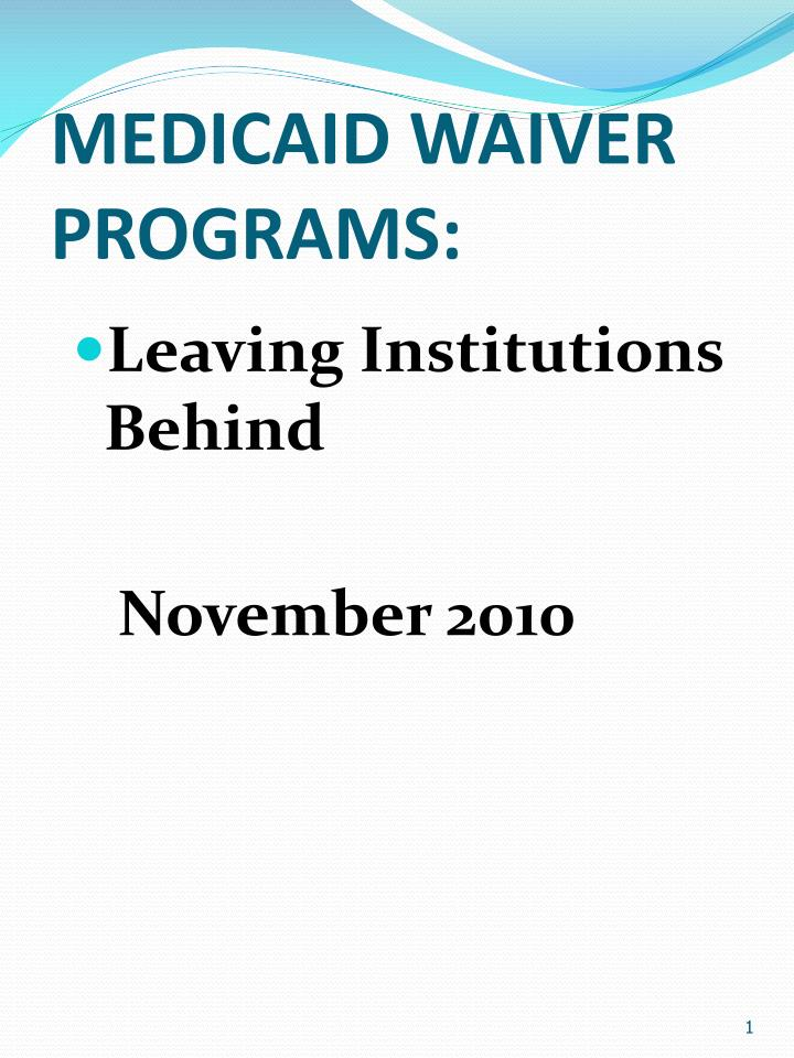 Medicaid waiver programs