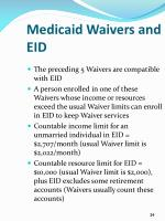 medicaid waivers and eid