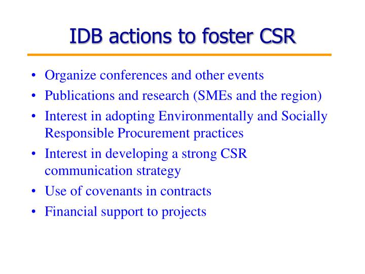 IDB actions to foster CSR