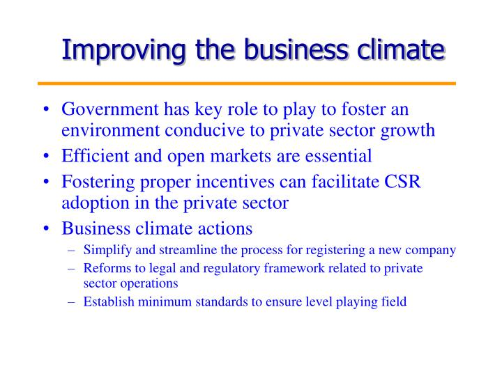 Improving the business climate