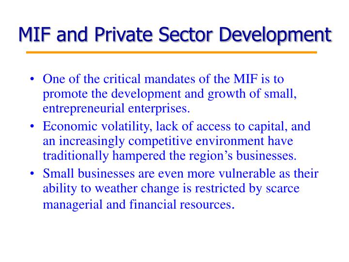 MIF and Private Sector Development