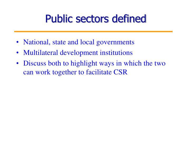 Public sectors defined