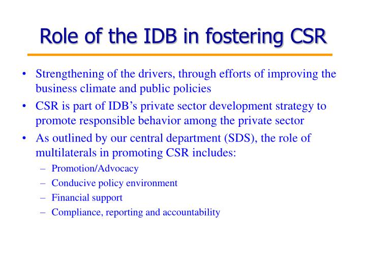 Role of the IDB in fostering CSR