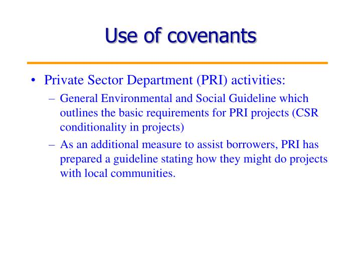 Use of covenants