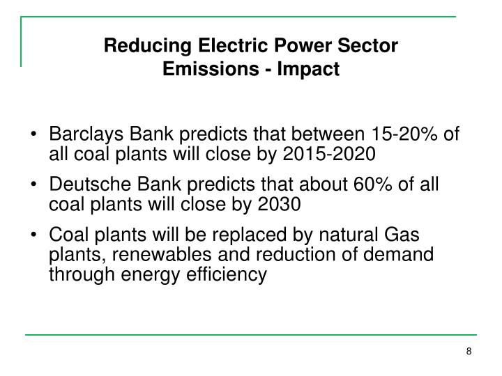 Reducing Electric Power Sector