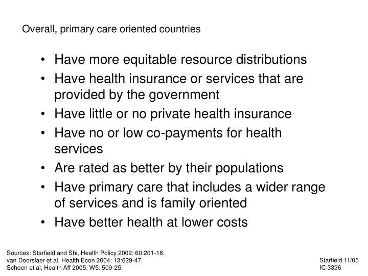 Overall, primary care oriented countries