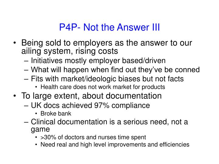 P4P- Not the Answer III