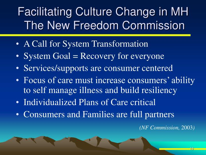 Facilitating Culture Change in MH
