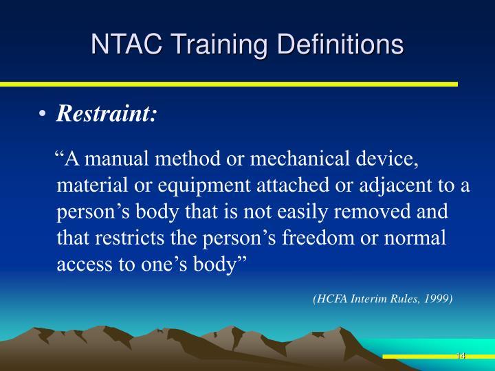 NTAC Training Definitions
