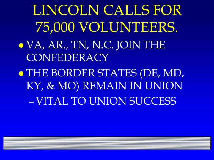 LINCOLN CALLS FOR 75,000 VOLUNTEERS.
