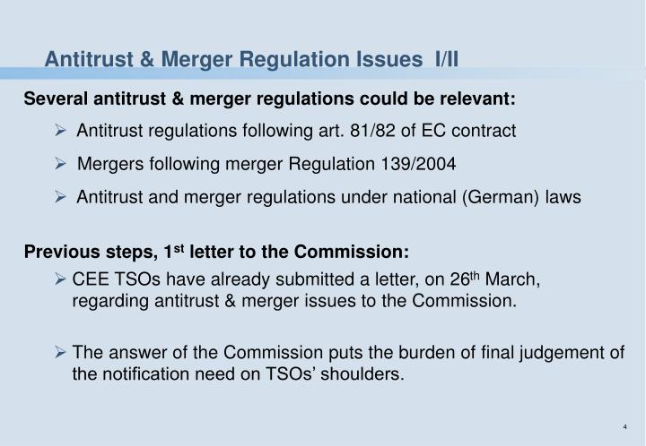 Antitrust & Merger Regulation Issues  I/II